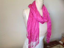 Pretty Dark Pink Scrunched Style Tasseled Fashion Scarf Soft Material image 4