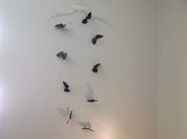 Pretty Dark Color Glitter Feather Butterfly Garland Plastic line mobile image 3