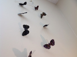 Pretty Dark Color Glitter Feather Butterfly Garland Plastic line mobile image 7