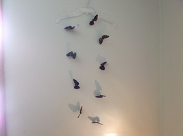 Pretty Dark Color Glitter Feather Butterfly Garland Plastic line mobile image 8