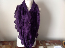 Pretty Frilly Furry Purple Infinity Scarf See Measurements Below image 2