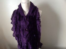 Pretty Frilly Furry Purple Infinity Scarf See Measurements Below image 3