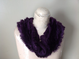 Pretty Frilly Furry Purple Infinity Scarf See Measurements Below image 5
