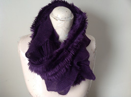Pretty Frilly Furry Purple Infinity Scarf See Measurements Below image 8