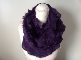 Pretty Frilly Furry Purple Infinity Scarf See Measurements Below image 7