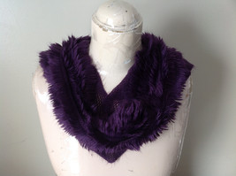 Pretty Frilly Furry Purple Infinity Scarf See Measurements Below image 6