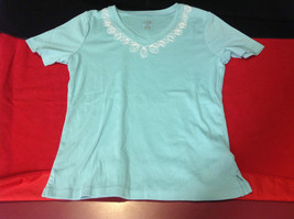 Pretty Hasting and Smith Ladies Light Blue Short Sleeve Top Size PS image 2