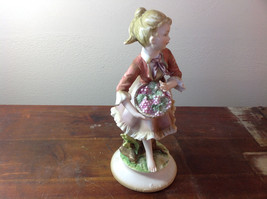 Pretty Girl with Berries Hand Painted Ceramic Figurine Made in Japan image 2