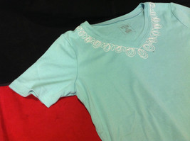 Pretty Hasting and Smith Ladies Light Blue Short Sleeve Top Size PS image 3