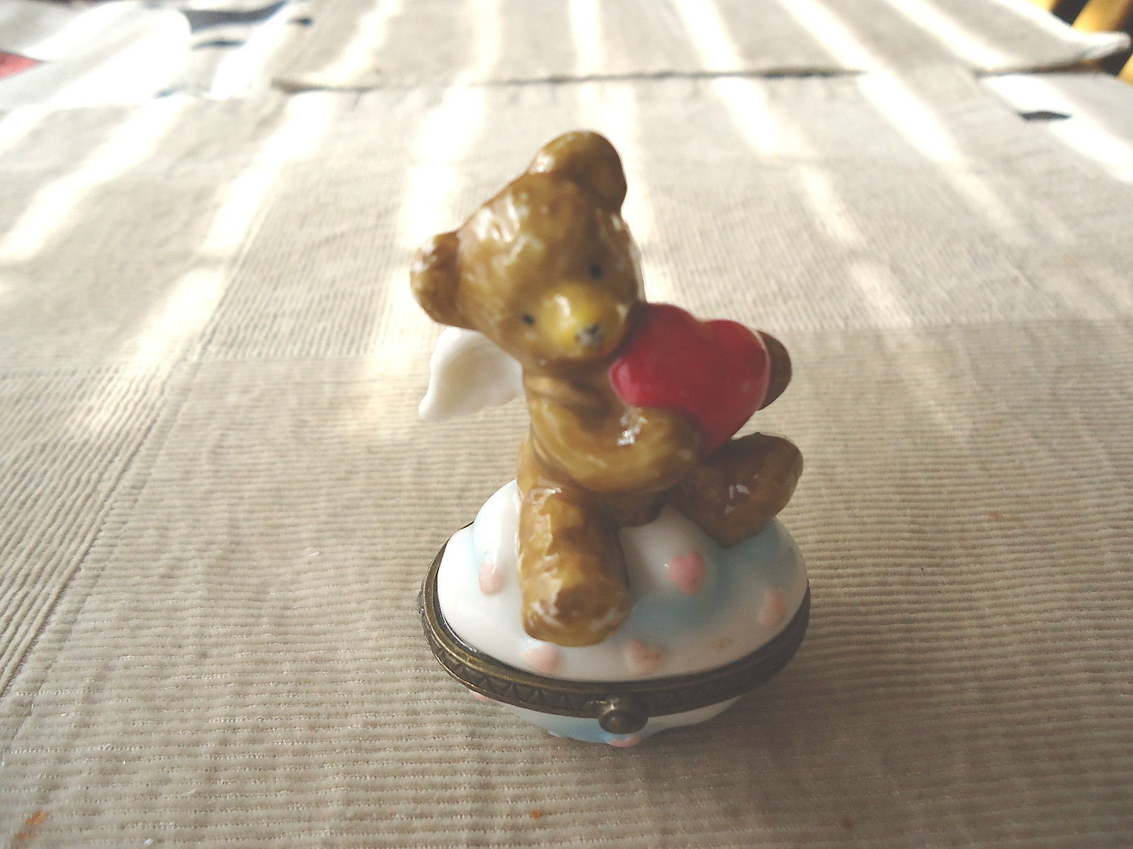 "Primary image for Vintage Midwest Valentine Type Bear Holding Heart Trinket Box "" AWESOME PIECE """