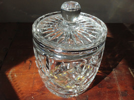 Pretty Large Clear Crystal Jar with Lid with Engraving image 2