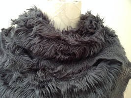 Pretty Frilly Furry Gray Infinity Scarf Length One Side 28 Inches image 3