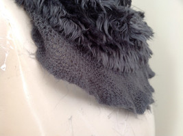 Pretty Frilly Furry Gray Infinity Scarf Length One Side 28 Inches image 4