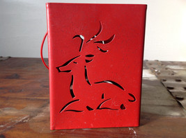 Pretty Red Metal Basket Bag with Handle Deer Glitter  Luminaria or holiday deco image 3