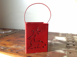Pretty Red Metal Basket Bag with Handle Deer Glitter  Luminaria or holiday deco image 4