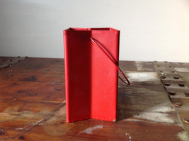 Pretty Red Metal Basket Bag with Handle Deer Glitter  Luminaria or holiday deco image 5