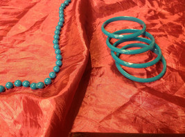 Pretty long light blue (22 inches) necklace with bracelets image 4