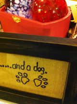 Primitive Embroidered Framed All You Need is Love and a dOG Saying image 3