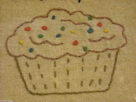 Primitive Embroidered Framed You Are The Icing on My Cupcake Saying image 3