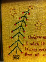 "Primitive Framed Stitching of ""Christmas is Coming"" image 2"