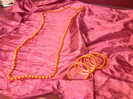 Pretty long orange (22 inches) necklace with bracelets (4 inches) image 5