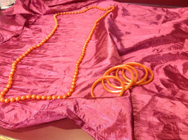 Pretty long orange (22 inches) necklace with bracelets (4 inches) image 4