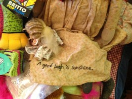 Primitive doll w flower pin stitchery A good Laugh is Sunshine stitched on skirt image 3