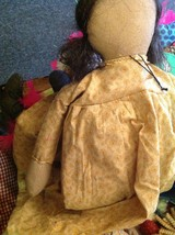 Primitive doll w flower pin stitchery A good Laugh is Sunshine stitched on skirt image 7