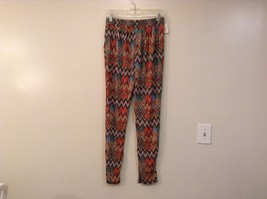Printed wide leg pants, one size fits most w pockets elastic waist open bottom image 15
