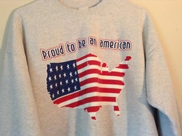 Proud to be an American Gray Long Sleeve Sweatshirt with Flag Size Large image 2