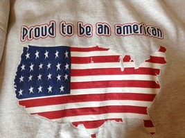 Proud to be an American Gray Long Sleeve Sweatshirt with Flag Size Large image 7