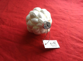 Puffy  White Glass Ornaments Flat ball/ball/shuttle 3 assort 3, 4 & 5 Inch High image 6
