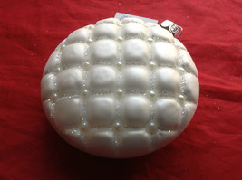Puffy  White Glass Ornaments Flat ball/ball/shuttle 3 assort 3, 4 & 5 Inch High image 11