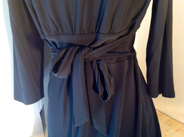 Pure Black Formal Dress Strings on Back Three Quarter Length Sleeves Size 10 image 9