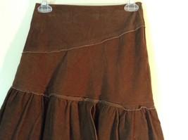 Promod Brown Skirt 100 Percent Cotton Side Zipper Side Measurements Below image 2