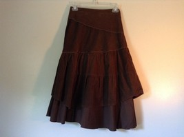 Promod Brown Skirt 100 Percent Cotton Side Zipper Side Measurements Below image 5