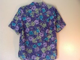 Purple Alfred Dunner Petite Size 8 Button Up Shirt Green Blue Purple Flowers image 4