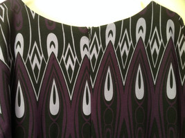 Purple Black Circular Patterned Calf Length Dress Looks Belted Size 10 image 7