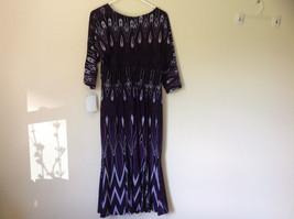 Purple Black Circular Patterned Calf Length Dress Looks Belted Size 10 image 11