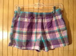 Purple Blue Yellow Plaid 100 Percent Cotton Pajama Shorts Size Medium image 3