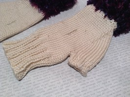 Purple and White Hand Knitted Woven Fingerless Gloves Very Soft image 2