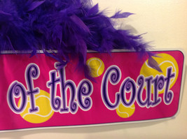 Queen of the Court Groovy Signs Metal Sign Hanger Purple Feathers Pink Purple image 4