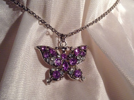 Purple Jewel Butterfly Silver Tone Pendant Necklace Slip Through Closure image 3