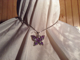 Purple Jewel Butterfly Silver Tone Pendant Necklace Slip Through Closure image 6