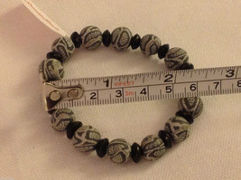 Python snake skin  stretchy bracelet with wood spacers made in USA image 3