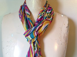 Rainbow Elastic Scarf Pink Blue Teal White Many Colors 10 Inches by 70 Inches image 2