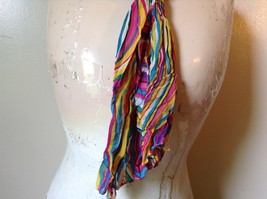 Rainbow Elastic Scarf Pink Blue Teal White Many Colors 10 Inches by 70 Inches image 5