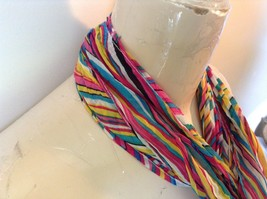 Rainbow Elastic Scarf Pink Blue Teal White Many Colors 10 Inches by 70 Inches image 3