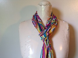 Rainbow Elastic Scarf Pink Blue Teal White Many Colors 10 Inches by 70 Inches image 6