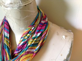Rainbow Elastic Scarf Pink Blue Teal White Many Colors 10 Inches by 70 Inches image 4